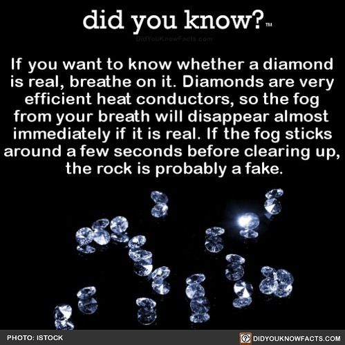 Did You Know On Instagram Let Me Know If You Find Out Your Diamond Is Fake Diamond Diamondring We F Diamond Facts Uber Facts How To Memorize Things