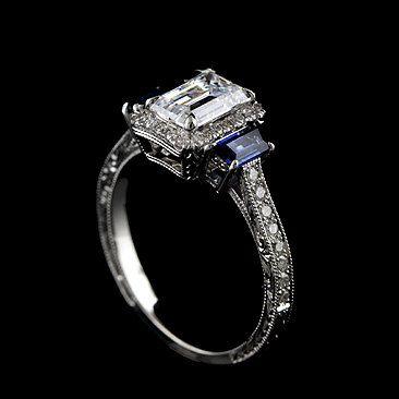 Emerald-cut diamond and sapphire.