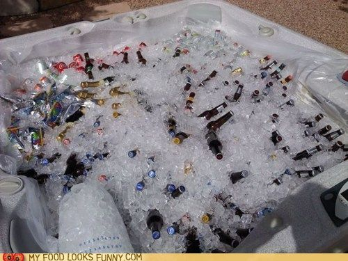A Better Way to Unwind: Hot Tub Giggles, Giant Drinks, Drinks Cooler, Drink Coolers, Purpose Hottub, Hot Tubs, Hot Tub Humor