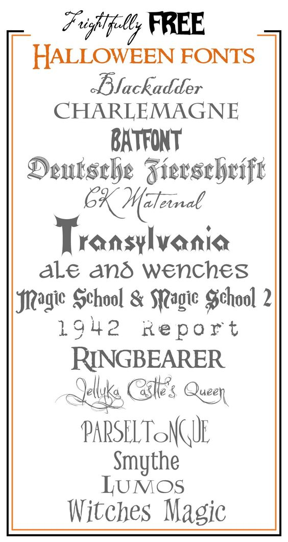 Frightfully Free Halloween Fonts!  What a great idea to write the font name in the actual font!