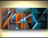 """Geometrische Kunst-zeitgenössische abstrakte Malerei blaugrün Orange Art riesige Gemälde von OSNAT Tzadok 56 """""""