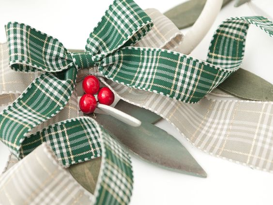 Rustic Plaid ribbon, Christmas tartan check. Lovely for tying festive bows on wreaths and gifts