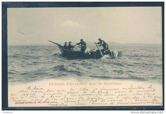 Pêcheurs d´Auvernier, barque de pêche du Lac de Neuchâtel, par mauvais temps