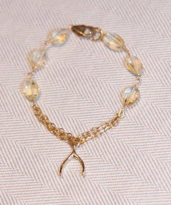Citrine and wish bone bracelet by PanachebyAmanda on Etsy, $26.20