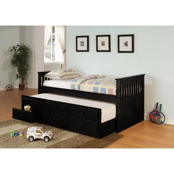 Coaster Company Black Wood Trundle Twin Daybed