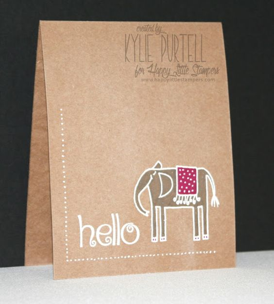 Happy Little Stampers, Kylie Purtell, One Layer CAS, Whimiscal Friends, Embossed on kraft, Colouring on Kraft, White gel pen border,