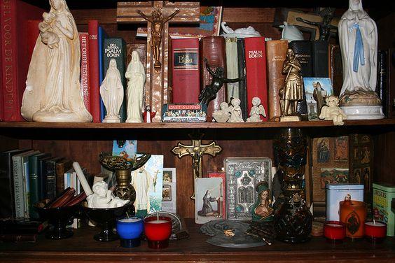home altar cum shelf of holy books