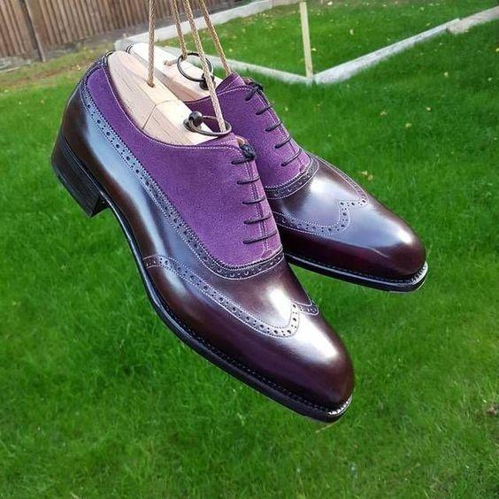 Handmade Men Purple Brown Brogue Shoes Oxford Formal Dress Suede Leather Sh Dress Formal Purple Leather Shoes Quality Leather Boots Dress Shoes Men
