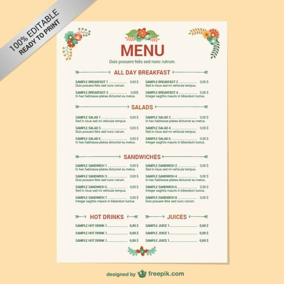 Simple Brush Restaurant Menu Cardápio, Marmita e Panfletos - menu template word free