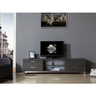Natasha High Gloss Grey/ Stainless Steel Modern TV Stand   Overstock.com  Shopping