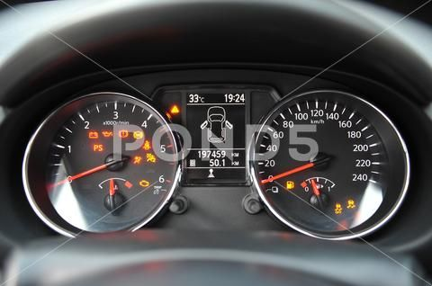 The Instrument Panel In The Car The Speed Dial On The Dashboard