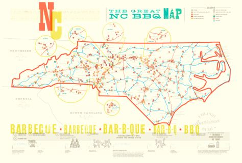 THE GREAT NC BBQ MAP: You'll want to keep this map in your glove box, because it'll be handy any time you find yourself on the road in North Carolina craving a little 'cue. It's good for grabbing a weekday lunch, finding a perfect road trip meal, or planning an entire barbecue tour around your area of choice. You'll have all the info you need to track down your favorite BBQ.