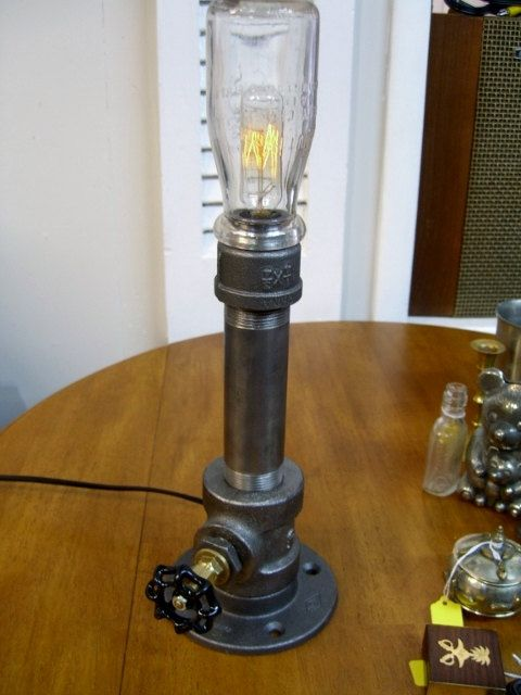 Industrial steampunk black iron pipe lamp with dimmer for Black iron pipe lights