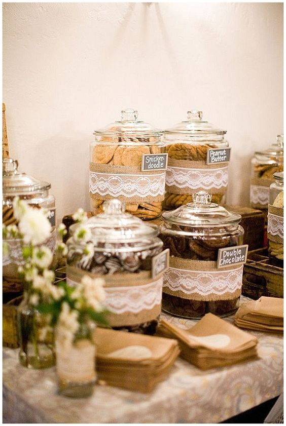 40+ Hessian Wedding Ideas - wrap burlap hessian ribbon and lace around candy jars for your sweetie buffet or dessert table #weddingideas #hessianwedding #rusticweddingideas: