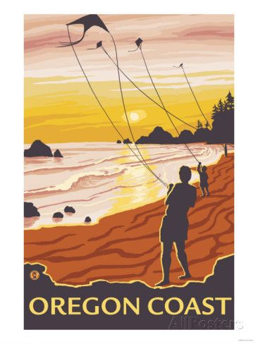 Beach & Kites, Oregon Coast Art Print
