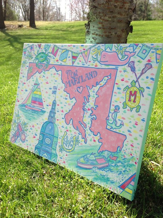 Maryland Custom Painting 18 inch x 24 inch or 24 x 30 inch. Can customize to your state!!!  Will monogram and or add greek letters!