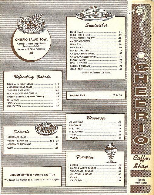 Part of Cheerio Coffee Shop menu, circa 1960
