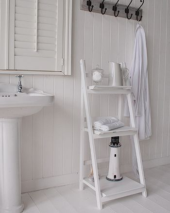 White Free Standing Bathroom Shelf Unit White Cottage Bathroom Furniture Kylpyhuone