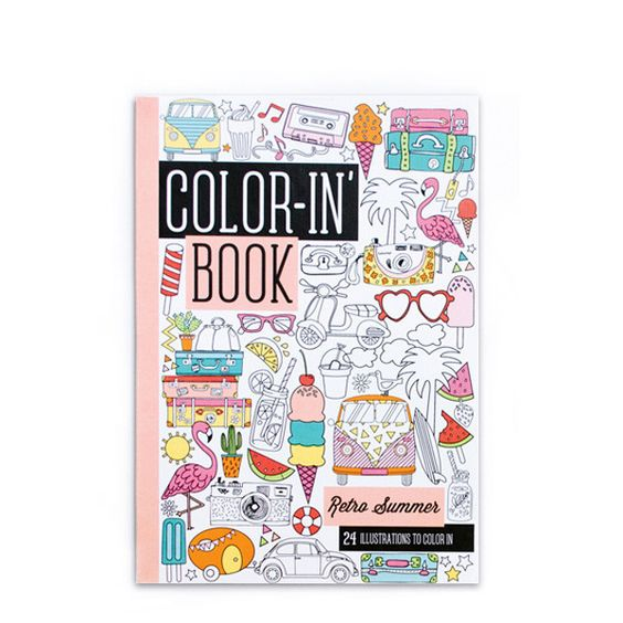 Retro Summer Coloring Book | ShopPigment