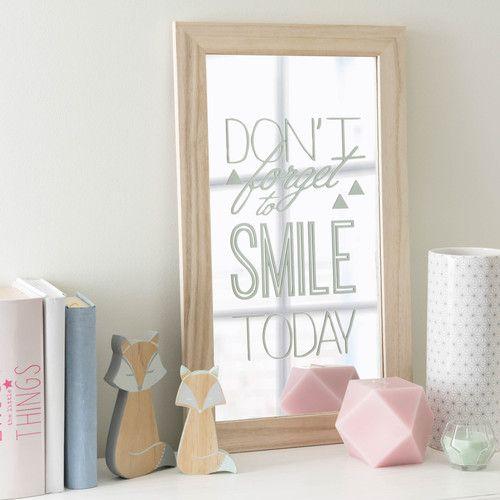 Miroir en bois 31 x 53 cm DON'T FORGET TO SMILE | Graphik Pastel ...
