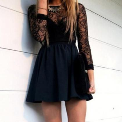 Hollow Black Lace Dress
