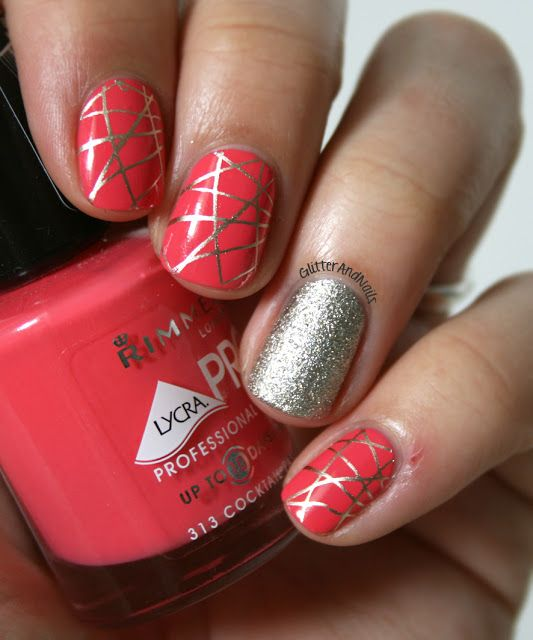 Glitter and Nails: Passion Cocktail, stamping & glitter.. I WUD LEAVE OUT THE SILVER NAIL N HAVE ALL NAILS WITH THE ABSTRACT