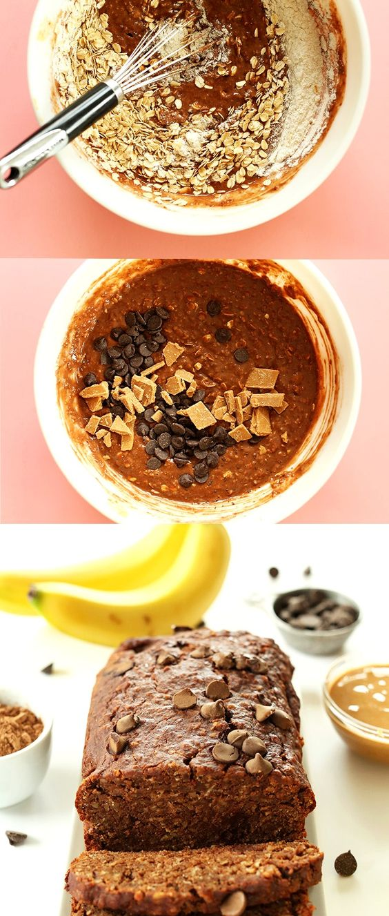 One Bowl Peanut Butter Banana Chocolate Snack Bread! #Vegan #Glutenfree and SO moist and delicious.: Delicious Vegan Desserts, Gluten Free Vegan Snacks, Banana Peanut Butter Muffin, Sweet, Healthy Banana Oat Muffin, Peanut Butter Banana Muffin, Glutenfree, Peanut Butter Powder Recipe