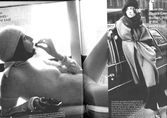 VIVIANE FAUNY AND POLA (IN BONNIE CASHIN COAT) July 1972 - US Vogue