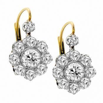 Antique 1.24ct Old Mine Cut Diamond Platinum 18k Yellow Gold Earrings - See more at: http://www.newyorkestatejewelry.com/earrings/dankner-1.00ct-diamond-gold-leaf-earrings/24962/5/item#sthash.oKmUuZYd.dpuf