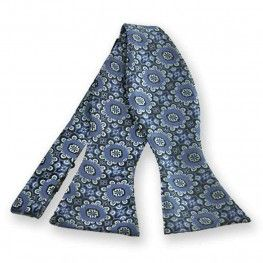 French Blue Emma Floral Pattern Self-Tie Bow Tie