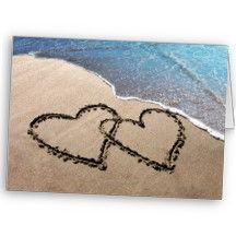 Two Hearts In The Sand Notecards