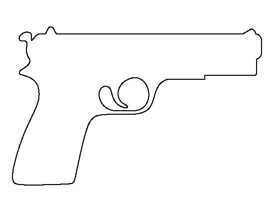 Pistol pattern. Use the printable outline for crafts, creating stencils, scrapbooking, and more. Free PDF template to download and print at http://patternuniverse.com/download/pistol-pattern/