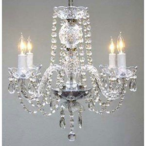 """Swarovski Crystal Trimmed Chandelier! New! Authentic All Crystal Chandelier H17"""" X W17"""" Swag Plug In-Chandelier W/ 14' Feet Of Hanging Chain And Wire! - A46-B15/275/4 Sw"""