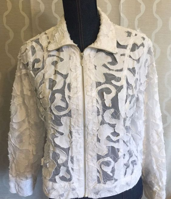 Coldwater Creek Womens 6P Petite White Embroidered Zip Up Blazer Sheer Jacket…