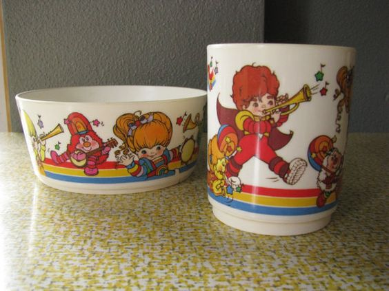 Rainbow Brite cup and bowl I totally had this and there was a matching plate that went w/it. I think my mom still has the cup at home :)