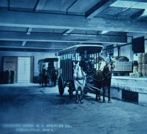 h l spencer and company loading shed late 1800 s oskaloosa iowa mahaska history old western towns history iowa pinterest