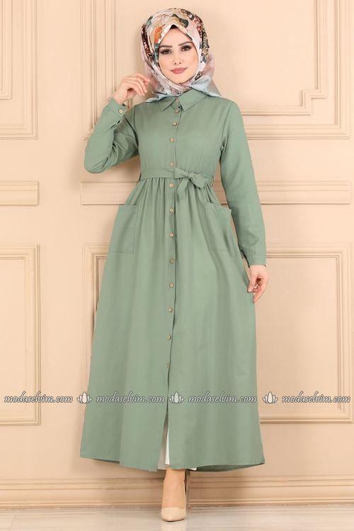 Modaselvim Elbise Cepli Elbise Ferace Tkm2696 Mint Kiyafet Elbiseler Elbise