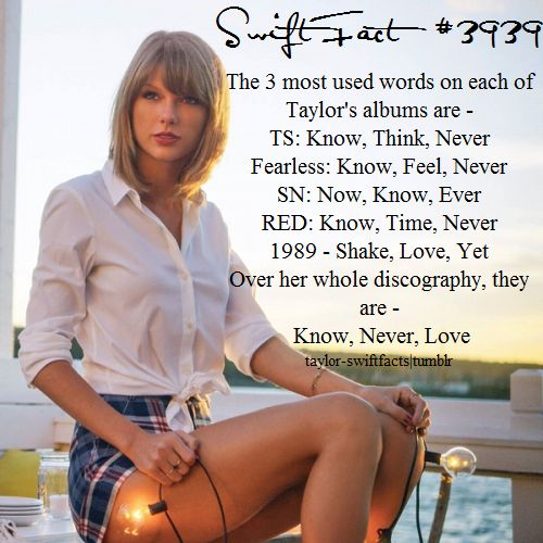 this is pretty cool. kind of funny how from ts to red they are similar, but 1989's are completely different!