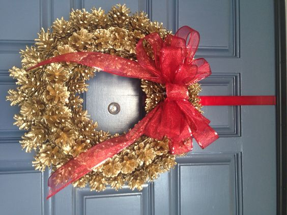 homemade gold and pinecone holiday wreath