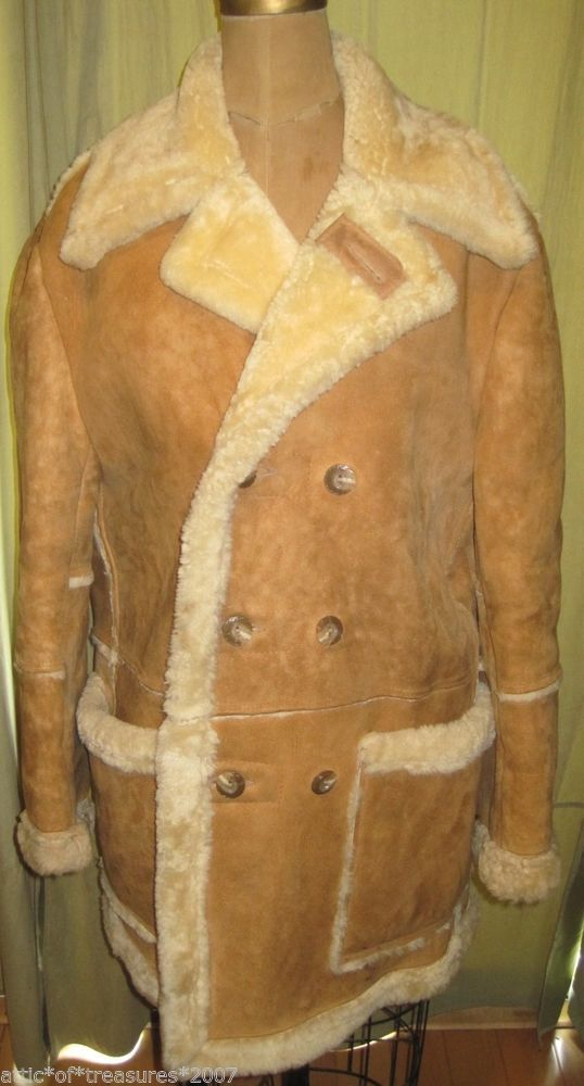 Vintage 1970s Men's Suede Leather Shearling Coat by SusOriginals ...