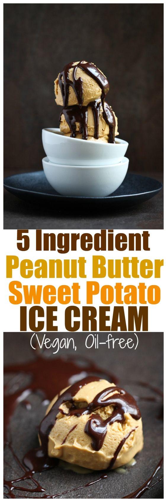5 Ingredient Vegan Peanut Butter Sweet Potato Ice Cream. Vegan, dairy-free, oil-free, gluten-free peanut butter ice cream made with sweet potatoes & coconut