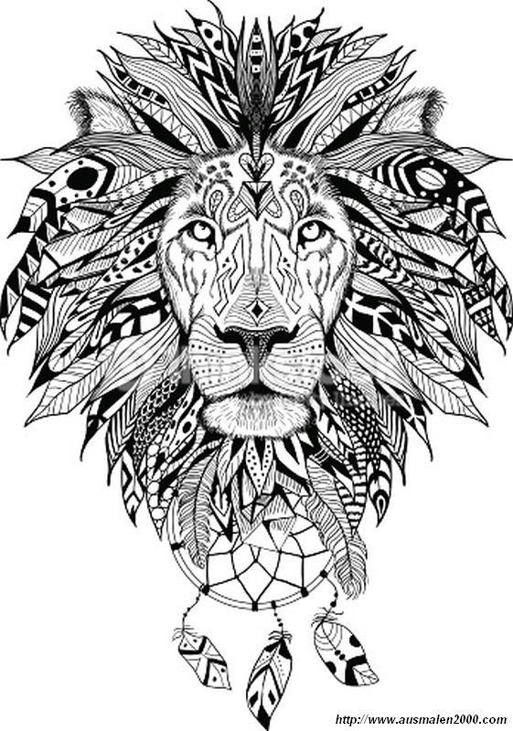 Ausmalbild Das Wilde Tier Indianer Feder Tattoos Zentangle Kunst Wilde Tiere