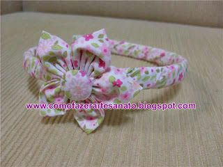 Tiara de Fuxico: Diy Headband, Flowers Hairbows, To Gossip, Hair