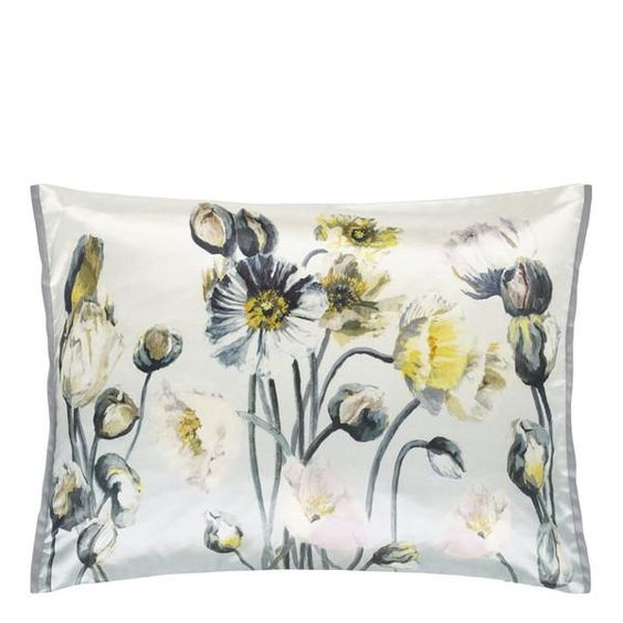 Blue and Yellow Pavot Birch Throw Pillow design by Designers Guild