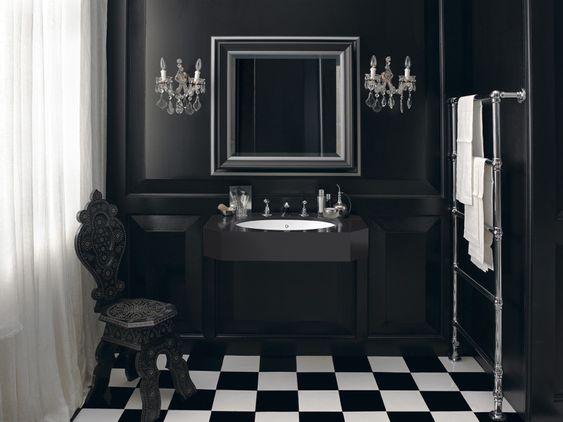 design handwaschbecken badezimmer retro barock edel luxus schwarz