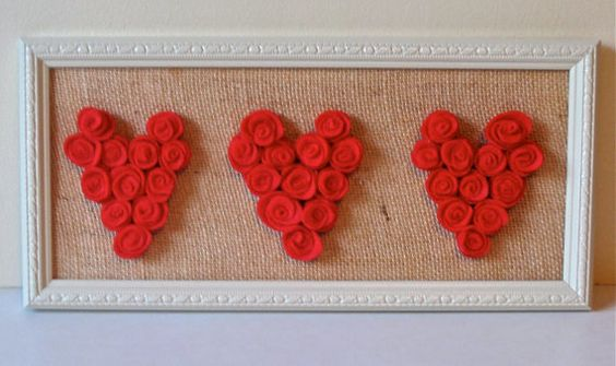 Framed Rosette Hearts by BurlapButterflies on Etsy, $19.99