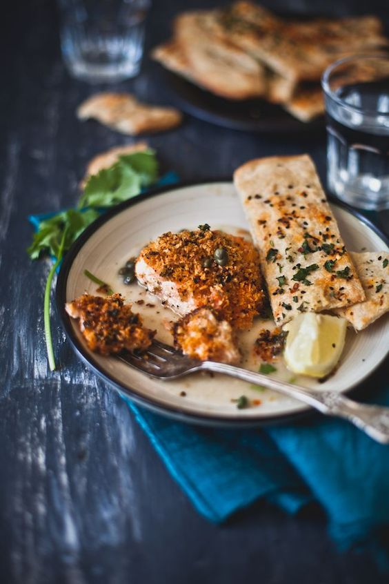 Panko Crusted Salmon in Piccata Sauce