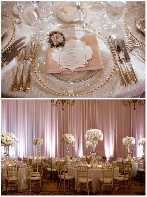 Briana & Robert's Wedding, Montage Beverly Hills | Details Details - Wedding and Event Planning, elegant and lavish wedding, sequin linens, white and blush color palette, lush floral, tall floral centerpieces, hanging crystals, gold chivaris: