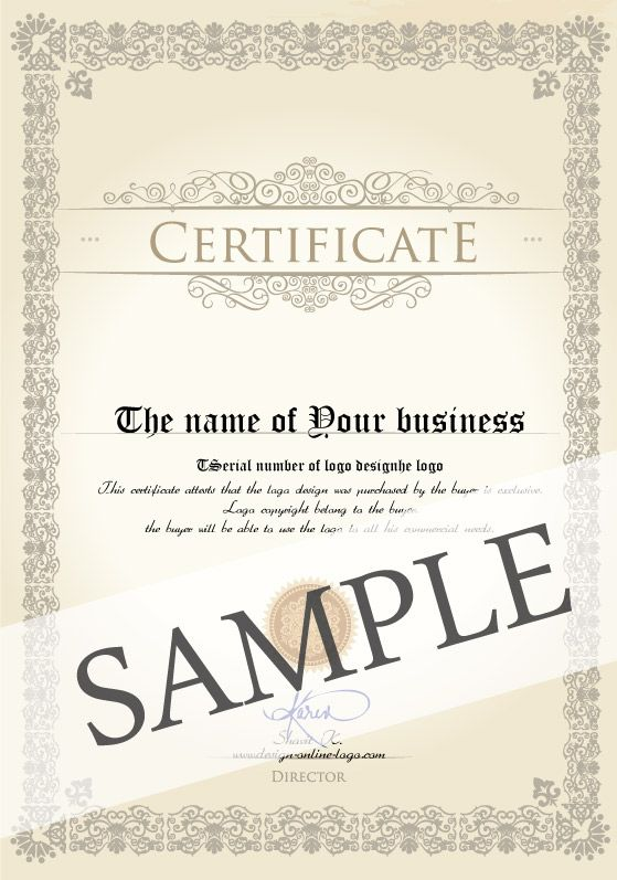 Logo design license u2013 Certificate Every customer who purchases one - example certificate of origin