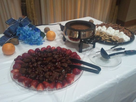 Chocolate in fondue for extra to ladle on plates!